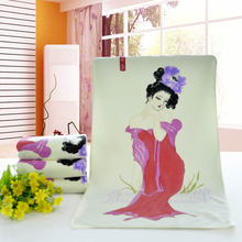 High-quality100%cotton towel fabric beautiful woman FEIYAN Color changing creative gift Wash face/hand towels bathroom Household