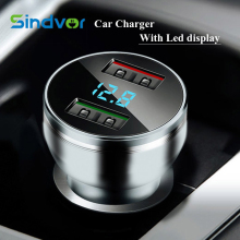 Original Sindvor 3.1A Fast Charging Car Charger Digital Display Dual USB Port Car-charger Adapter For iPhone iPad Samsung Xiaomi