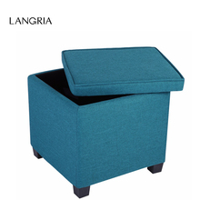LANGRIA Brand Peacock Blue Modern Square Linen Upholstered Storage Ottoman Foot Rest Stool Seat with Legs For Home