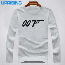 New fashion Brand Quality Movie Film 007 James Bond Print T Shirts 100% cotton long Sleeve Round Neck T-shirts Casual Loose Tee