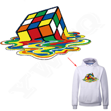 28*16cm Power Cube Iron On Patch Fashion Dress Sweatshirt Heat Press Appliqued A-level Washable Stickers Heat Transfer