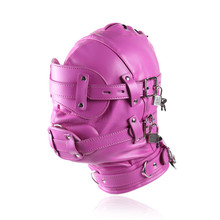 Buy Fetish Leather BDSM Bondage Hood SM Totally Enclosed Mask Lock Slave Restraints Sex Toys Couple,Adult Games Sex product