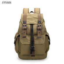 New fashion men's backpack vintage canvas backpack school bag men's travel bags large capacity backpack Black, coffee ,khaki(China)
