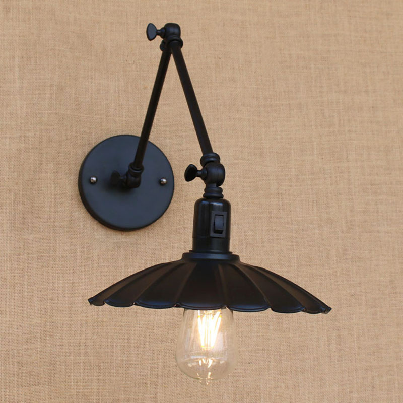 antique black reto industrial metal shade MINI wall lamp with long swing arm for workroom bedside bedroom illumination sconce