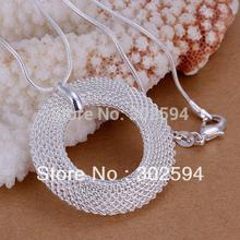 P054 Promotions Free shipping Beautiful fashion Elegant  silver plated  charm round mesh girl pendant pretty Necklace jewelry