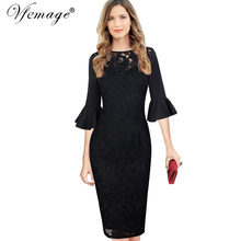 Vfemage Womens Elegant 3/4 Bell Sleeves Sexy Crochet Lace Hollow Out Party Cocktail Special Occasion Vestidos Sheath Dress 8276(China)