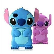 New Style cute cartoon model silicon material Stitch 3D shape Movable Ear cover phone Case for Apple iPhone 4 4G 4S