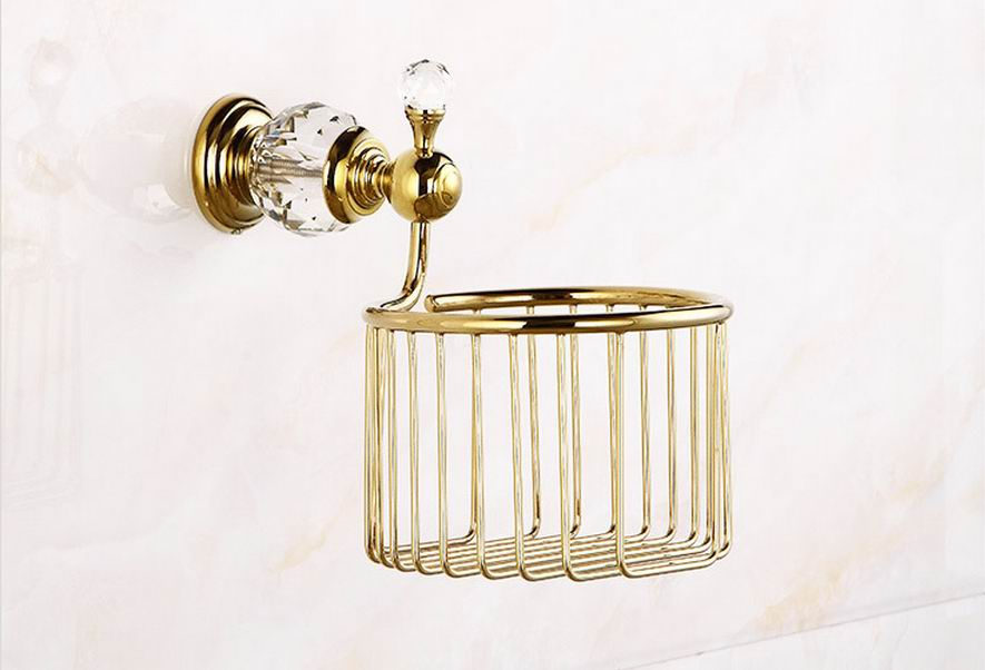 Free shipping golden Crystal Wall Mounted Roll Holders Paper Holders Bathroom Basket  Bathroom Accessories Paper Basket<br>