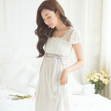 White Cotton Dressing Gown Night Dress Woman Night Gown Vintage Cute Princess Elegant Long Nightgown Night Wear Women Nightdress(China)