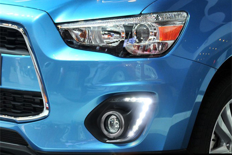 Free shipping 2x LED Daytime Day Fog Lights DRL For Mitsubishi ASX Outlander Sport 2013-2015<br><br>Aliexpress
