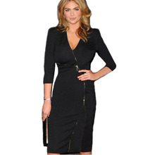 AAMIKAST Women Celibrity Elegant Zip Stretch Tunic V-neck Business Wear To Work Party Cocktail Sheath Bodycon Pencil Dresses