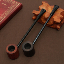 New Arrival! Ebony Wood Pipe Smoking Pipes Portable Smoking Pipe Herb Tobacco Pipes Grinder Smoke Gifts Black/Coffee 2 Colors(China)