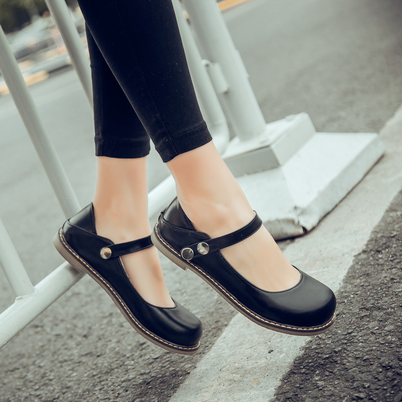 Women Footwear Flats-Shoes Ankle-Strap Spring Closed-Toe Black Retro Mori-Girl Mary Sweet title=