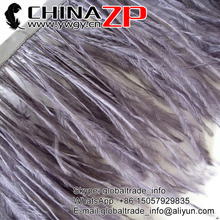 CHINAZP Yiwu ZP Crafts Co., Ltd 2yards/color/lot Good Quality Dyed Grey Ostrich Feathers Trim(China)