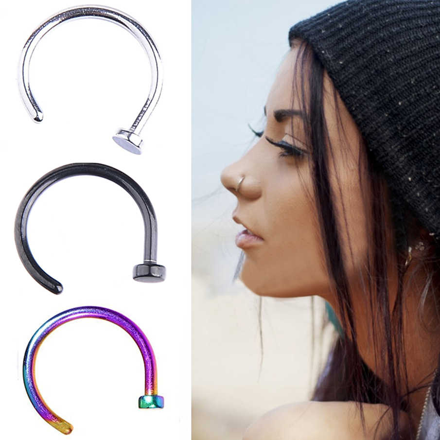 5pcs Lot Open Nose Hoop Stainless Steel Nose Rings Studs Body