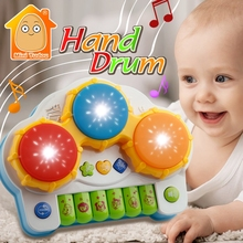 Minitudou Piano And Drum 2 IN1 Toy Musical Instrument Baby Fitness Hand Drum Toy With Music Light Educational Toys For Children(China)