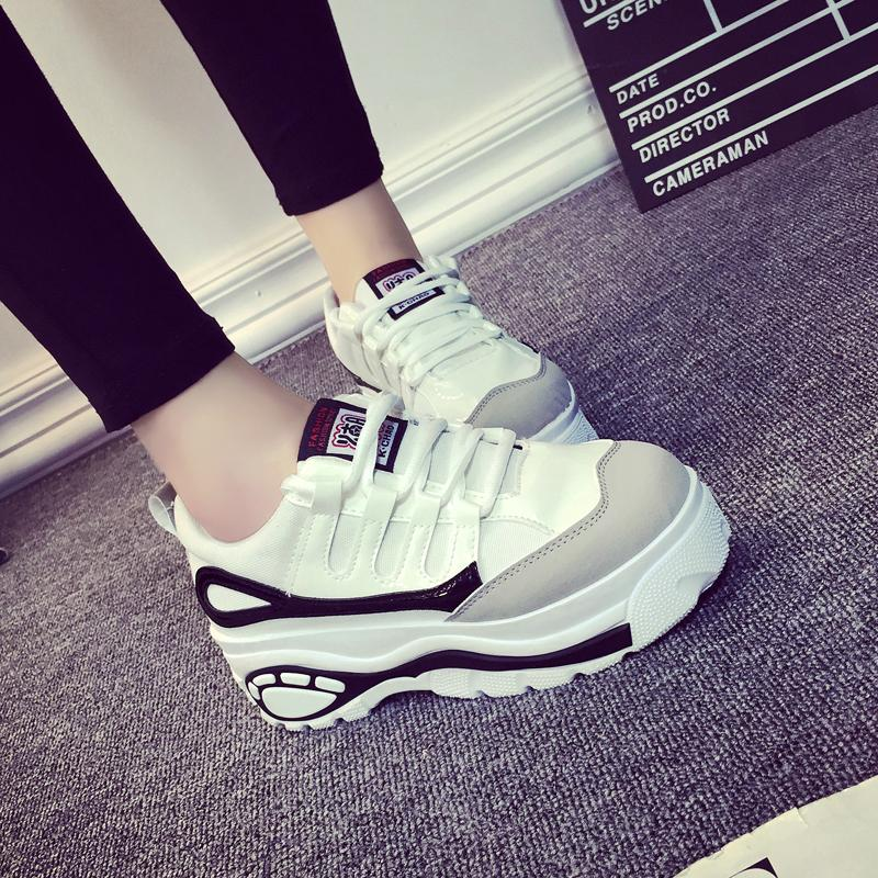2017 Women Harajuku Shoes Thick Soled High Help Woman Platform Muffin Casual Elevator Woman Wedges Zapatos Mujer Hot black white<br><br>Aliexpress