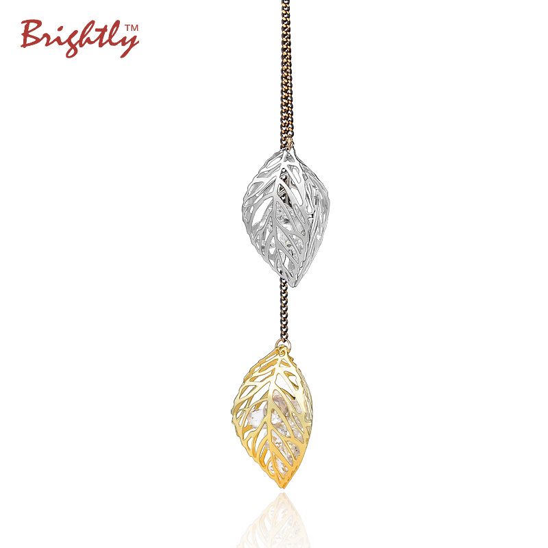Brightly Elegant OL Style Long Necklaces Hollow Double Leaf filled with Created Diamonds Pendants Necklace for Women Accessory(China (Mainland))