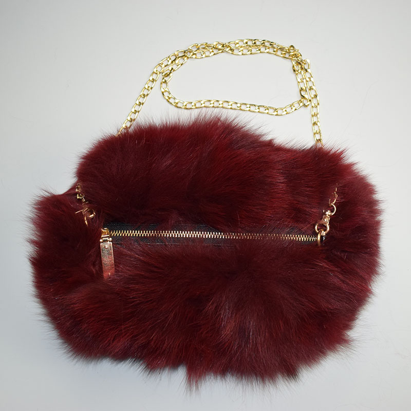 fox fur handmuff wine red 1