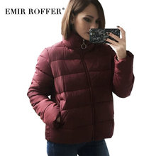 EMIR ROFFER 2017 Fashion Winter Women's Jacket Short Female Autumn Solid Slim Padded Coat Parka Cheap Warm Clothes Large Size(China)