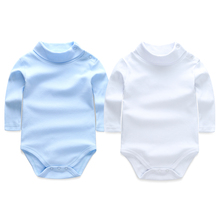 2017 Baby Bodysuits Body Bebes Baby Girl Boy Clothes Long Sleeve Solid Turn-down Collar Overalls Children 2pcs Cotton Clothing(China)