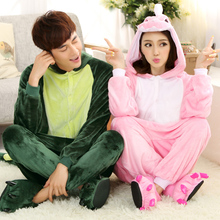 Cheap Aimal Couple rilakkuma pajamas Flannel Lovers Couples Unisex Animal Pajamas One Piece Cartoon Sleepwear Kugurumi(China)