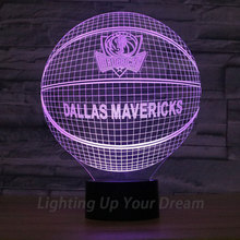 Dallas Mavericks Basketball Team 3D Night Light USB Charged Decoration Lamp In Bedroom Living Room NBA Fans Popular Gifts LED(China)