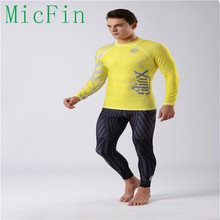 SLINX Lycra men rash guard shirts swimwear long sleeve surfing clothes suit rashguards mens boys yellow wetsuits(China)