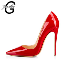 GENSHUO Brand Women Shoes High Heels Women Pumps 12CM Heels Shoes Red Pumps Sexy Pointed Toe High Heels Wedding Shoes for Party(China)
