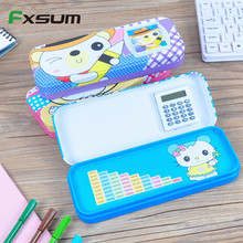 FXSUM Staionery Supplier Multifunction Calculator Function Student Metal Pencil Case Children Pupils Calculate Birthday Gift