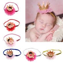 LNRRABC 13 Colors Kids Birthday Crown Headwear Lace Flowers Imitation pearls Headband diademas para mujer haar accessoires