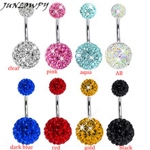 1pcs Stainless Steel Navel Piercing Jewelry Women Top Belly Rings Micro Pave Crystal Shamabala Balls Belly Button Rings(China)