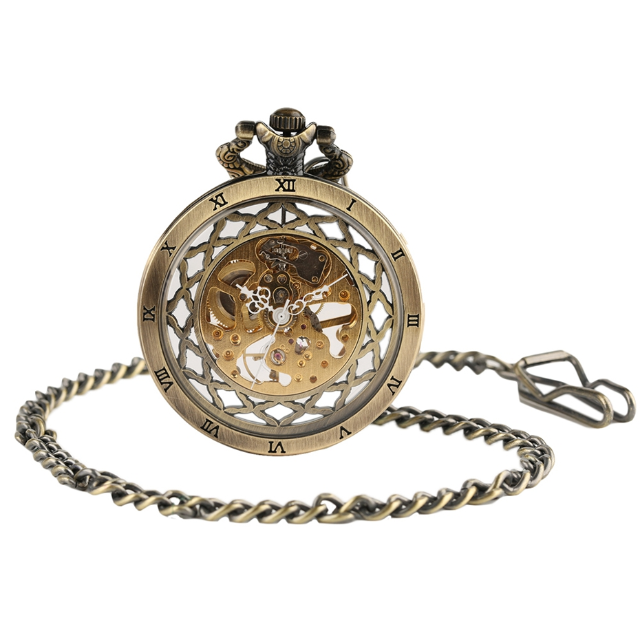 Top Gifts Luxury Transparent Skeleton Hollow Mechanical Watch Retro Hand Winding Analog Pocket Watch for Men Women Antique Style (4)