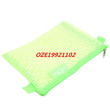 1PCS Office School Nylon Mesh Design Zipper Closure File Bag Document Holder Green(China)