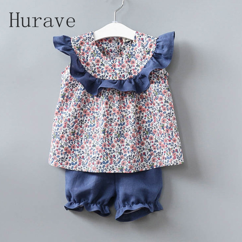 Hurave 2017 Girls dress girl clothing set summer children floral suits t shirt + short pant summer sets <br>