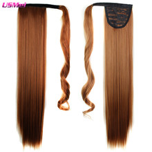 "24"" Long Straight Black Brown Blonde Ombre Color Hairpiece Modern and Fashion for Women Cheap Ponytail Hair Pieces and Ponytails"