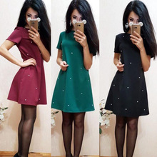 2017 Summer New Style Women Casual Beading shift Dresses Autumn Elegant Solid Color O-neck Straight Dress Plus Size XL XXL