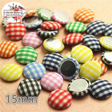 50pcs mix color Flatback grid Fabric Covered round Buttons Home Garden Crafts Cabochon Scrapbooking DIY 15mm