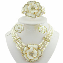 rose flower jewelry sets african big jewelry sets women necklace bead jewelry sets  wedding necklace gold