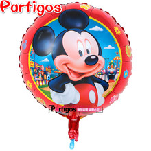 50pcs/lot baby girl shower 18inch high quality mickey minnie mouse printed happy birthday foil balloons party decorations kids