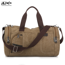 New Fashion High Quality Canvas Handbags Men Casual Large Capacity Travel Bags Vintage Canvas Messenger Bags Men(China)