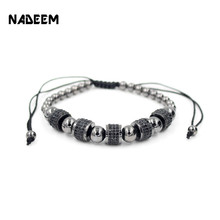 2017 Newest Adjustable Men Bracelet Round Bead Micro Pave Black CZ Crystal Macrame Weave Braided Charm Bracelets Jewelry ND4292