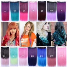 "5Clips Clip In Hair Extension Straight 24"" 60cm 110g  Rainbow Ombre 14Colors Available Kanekalon Synthetic Hair Hairpieces Slice"