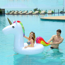 2017 New Summer Swimming Pool Baby Inflatable Unicorn In Water Child Rainbow Hourse Floating Row kid Air Mattresses Swim Rings