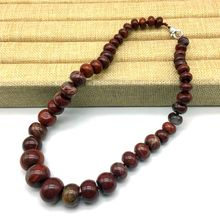 New Arrival Natural Stone Bead Choker Necklace Red Stone Wheel Abacus Rondell Bead with Clasp Nickle Free Party Neclace