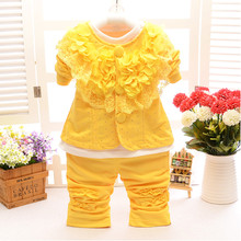New Newborn Baby Girl Clothing Set 3 pcs Fashion Petal Coat+White Bottoming Shirts+Pants Casual Floral Infant Princess Outwear(China)