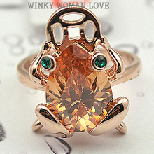 USTAR Love Frog animal rings for women Rose gold color Austria Crystal wedding Rings female anel Gift top quality