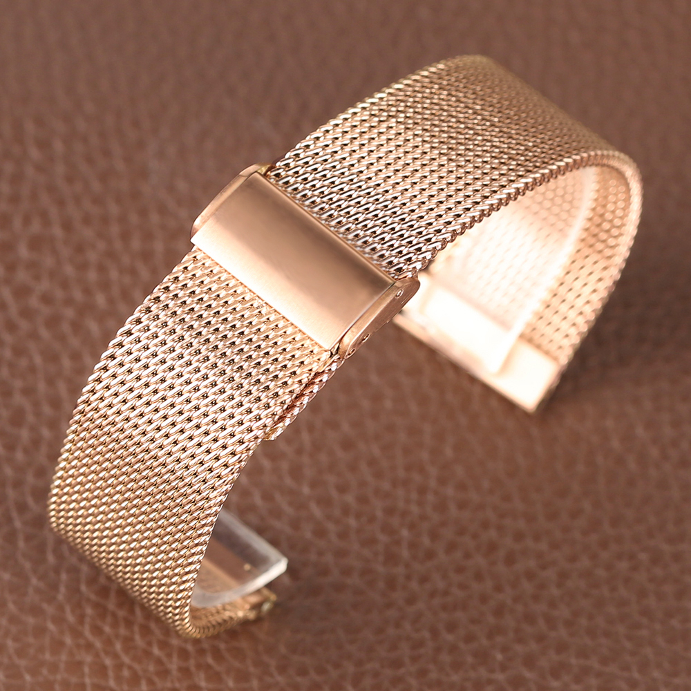 Rose Golden Stainless Steel Watch Band 2018 New Arrival 182022mm Women Men Wrist Band for HuaWei (9)