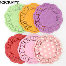 "KSCRAFT 4.5""Mixed Colors Lace Paper Doilies/Placemats for Wedding Party Decoration Supplies Scrapbooking Paper Crafts(China)"