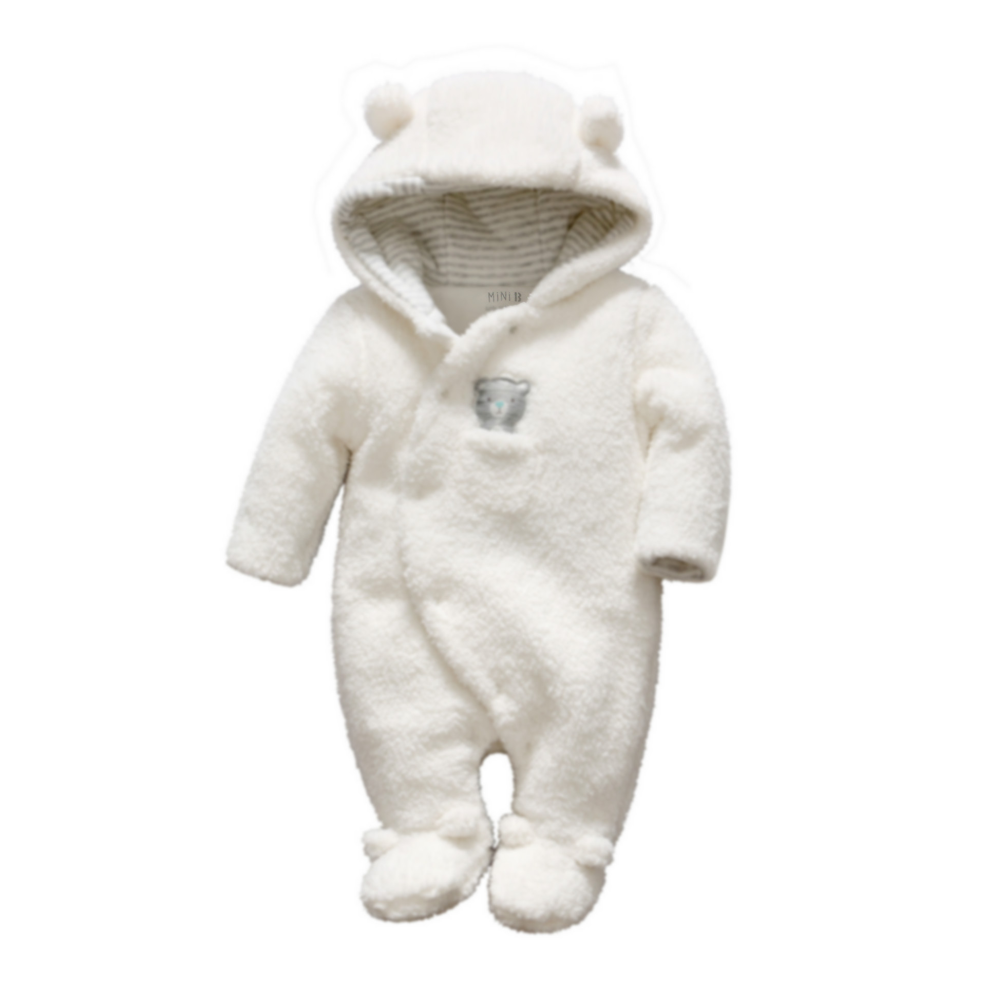 Newborn baby clothes Baby boy girl Bear rompers Onesie Toddler Hooded plush jumpsuit Kids Winter Overalls Roupas Infantil Menina<br>